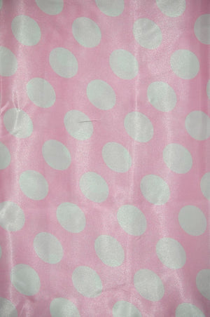 Polka Dot Charmeuse Satin PINK WHITE SP-104