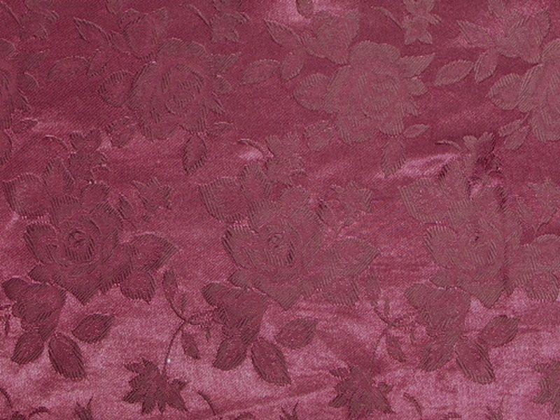 Floral Satin Brocade Medium Rose Dark Burgundy