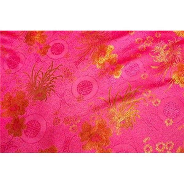 Chinese Satin Floral Brocade Pink