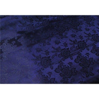 "Floral Satin Brocade Medium Rose Navy Blue ""LAST PIECE MEASURES 1 YARD 16 INCHES"""