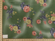 Koshibo Prints Moss Green Yellow Rose KO-5