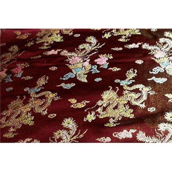 Chinese Satin Dragon/Phoenix Brocade Burgundy