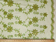 Colored Fancy Embroidery Mesh Lace Lime Green FEM-5