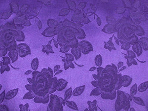 Floral Satin Brocade Medium Rose Purple