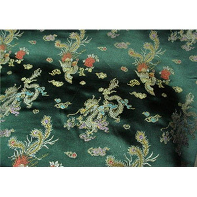 Chinese Satin Dragon/Phoenix Brocade Hunter Green