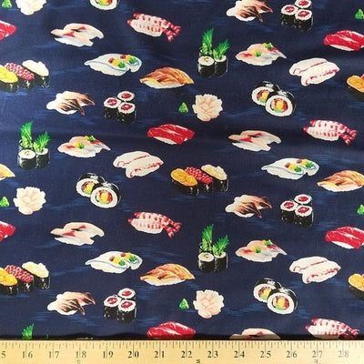 Navy Sushi Cotton Prints