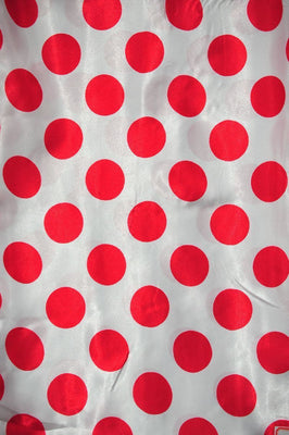 Polka Dot Charmeuse Satin WHITE RED SP-102