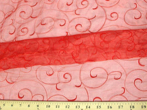 Embroidered Organza Red