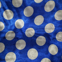 Polka Dot Charmeuse Satin ROYAL BLUE WHITE SP-113