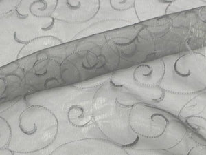 Embroidered Organza Silver
