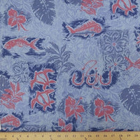 SWATCHES Blue/Turquoise Hawaiian Floral Prints