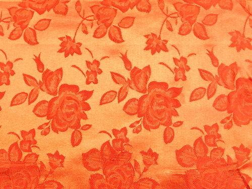 Floral Satin Brocade Medium Rose Orange
