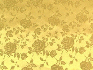 Floral Satin Brocade Light Gold