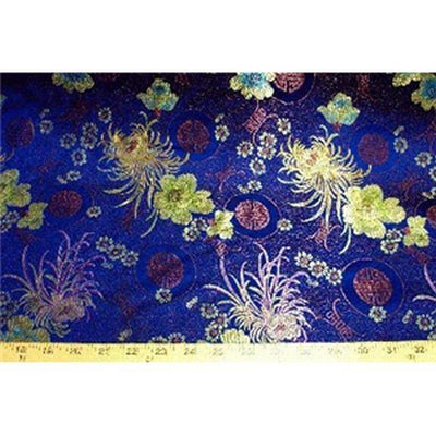Chinese Satin Floral Brocade Navy