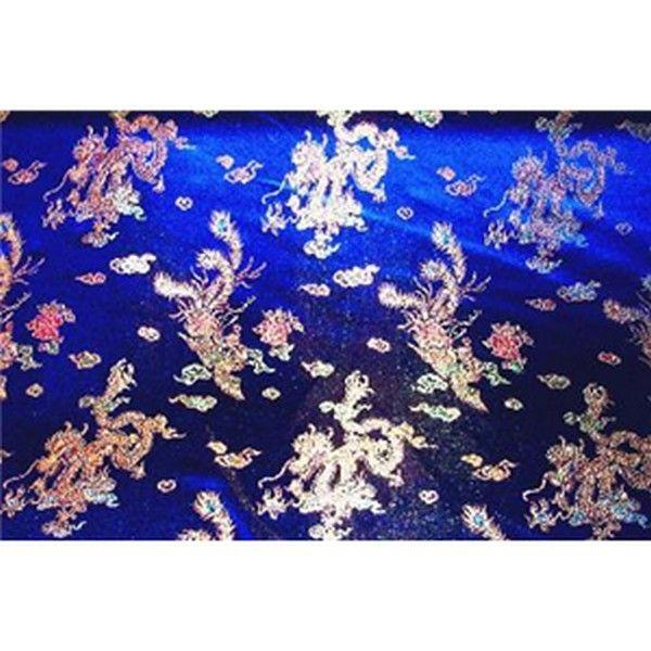 Chinese Satin Dragon/Phoenix Brocade Royal Blue