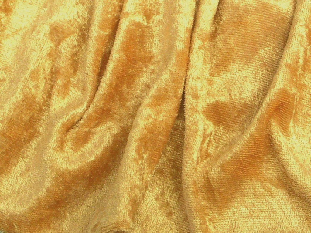Crushed Panne Velour Velvet Mustard Gold