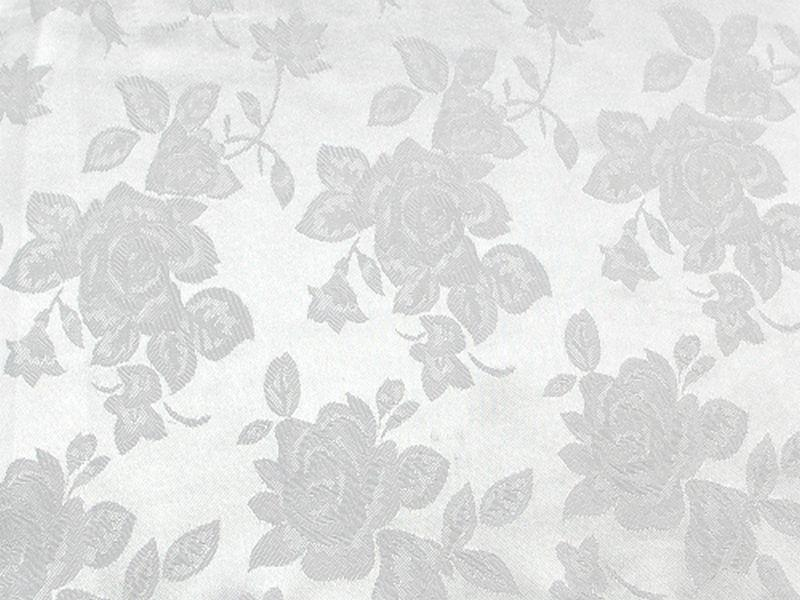 Floral Satin Brocade Medium Rose White