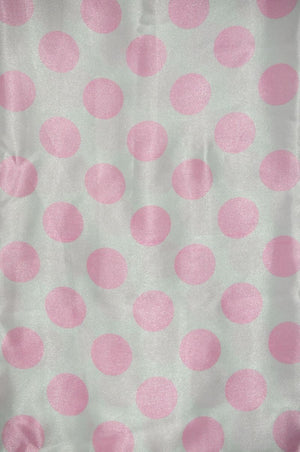 Polka Dot Charmeuse Satin WHITE PINK SP-101