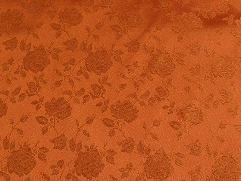 Floral Satin Brocade Rust