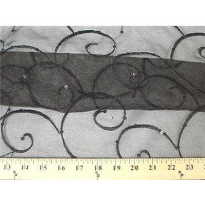 Embroidered Swirl Sequins Organza BLACK EM-18
