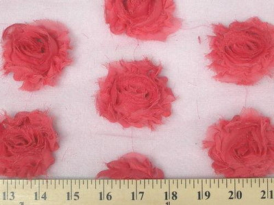 Rose Bud Chiffon Mesh Coral Pink Ground