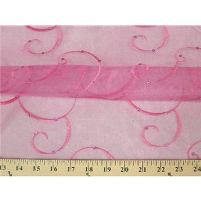 Embroidered Swirl Sequins Organza FUCHSIA EM-24