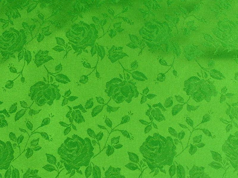 Floral Satin Brocade Lime Green