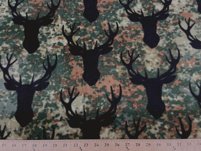 Anti Pill Stag Heads Camo Fleece 601