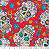 Premium Anti-Pill Skulls Día de Muertos Red Fleece 632