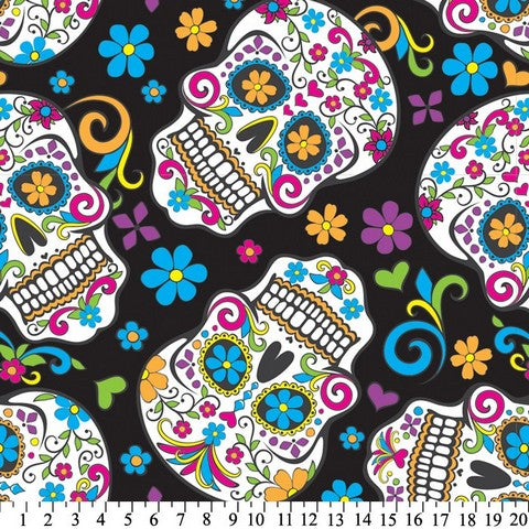 Premium Anti-Pill Skulls Día de Muertos Black Fleece 660