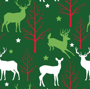 Premium Anti-Pill Christmas Deer & Trees Fleece 705