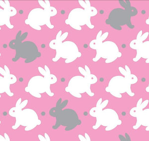 Premium Anti-Pill Bedtime Bunny Grey Pink Fleece 755