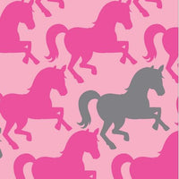 Premium Anti-Pill Pretty Horses Hot Pink Fleece 762