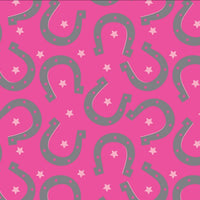 Premium Anti-Pill Horse Shoe Stars Hot Pink Fleece 765