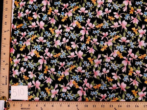 Black Hawaiian Floral Cotton HP-510