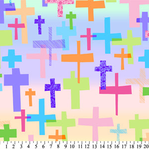 "Premium Anti-Pill American Greetings Crosses Fleece 279 ""LAST PIECE MEASURES 1 YARD 18 INCHES"""