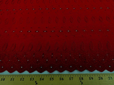 Eyelet Embroidery Red EL-27