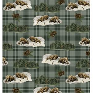 Premium Anti-Pill Bear Plaid Fleece B171