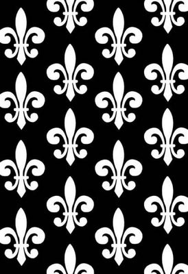 Anti-Pill Fleur De Lis Black White Fleece 581