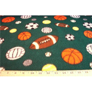 Sports Balls Green Fleece