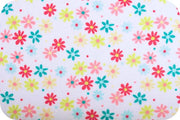 Misc Minky Cuddle Prints WHITE CORAL RETRO DAISY