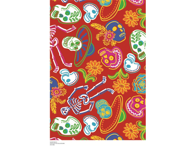 Premium Anti-Pill Sugar Skulls Red Fleece A68