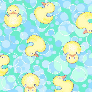 Premium Anti-Pill Bubble Ducks Aqua Fleece B272