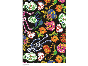 Premium Anti-Pill Sugar Skulls Black Fleece B962