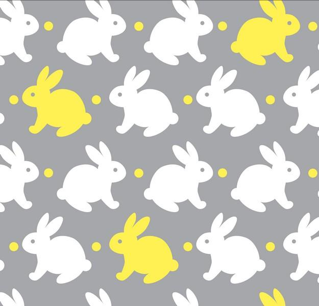 Premium Anti-Pill Bedtime Bunny Grey Yellow Fleece B967