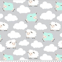 Premium Anti-Pill Sleepy Sheep Gray Aqua Fleece B981
