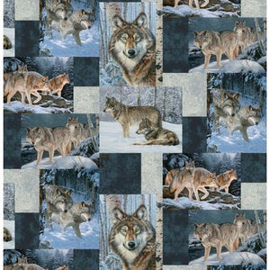 Premium Anti-Pill Wolf Patchwork Fleece B984