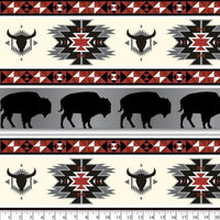 Premium Anti-Pill Buffalo Tribal Red Gray Fleece B985