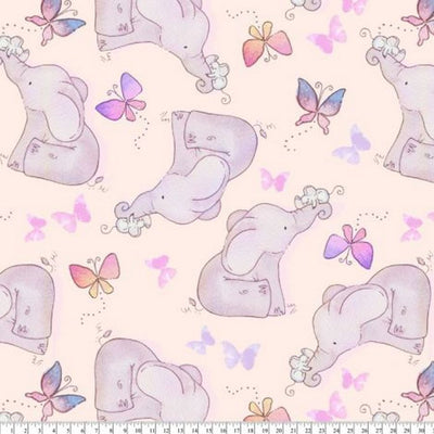 Springtime Elephant Pink Purple Fleece B987