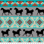 Southwest Horse Gray Turquoise Fleece B989